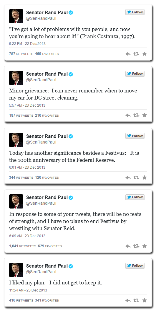 No comments about the lack of a Festivus pole in Congress